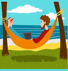 Remote work at the resort cartoon vector