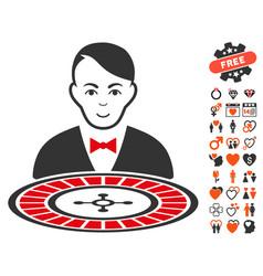 Roulette croupier icon with valentine bonus vector