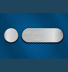 Round and oval metal brushed plates on blue iron vector