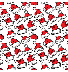 santa claus hats christmas seamless pattern for vector image
