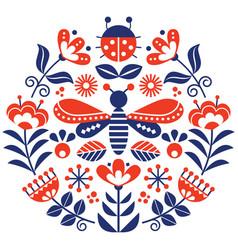 Scandinavian folk flowers design cute vector