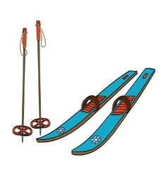 Skis with classic bindings and ski poles vector image