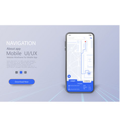 Smartphone with map and navigation pinpoint on vector