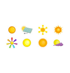 sun icon set cartoon style vector image