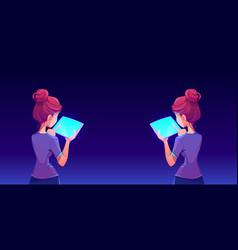 teenage girl using tablet app back view vector image