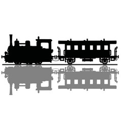 The vintage steam locomotive and a passenger wagon vector