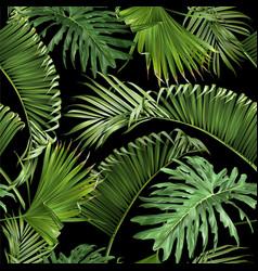 Tropical leaves black pattern vector