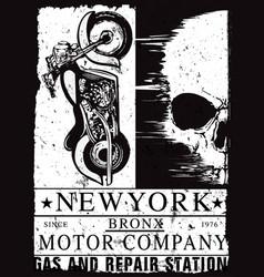 Vintage motorcycle skull poster t shirt design vector