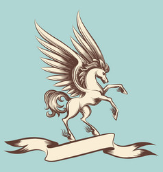 Vintage pegasus with wings and ribbon vector