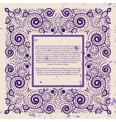 Violet frame on grunge background vector image