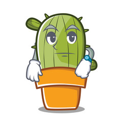 waiting cute cactus character cartoon vector image
