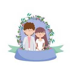wedding couple groom and bride cartoon flowers vector image