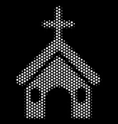 white pixelated christian church icon vector image