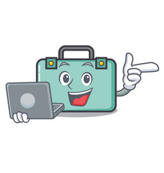 With laptop suitcase character cartoon style vector