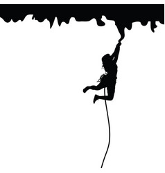 woman silhouette on cliff llustration vector image