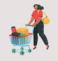woman with shopping cart full of boxes vector image