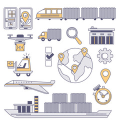 worldwide logistics and transportation goods vector image