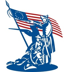 American patriots fighting with Betsy Ross flag vector image vector image