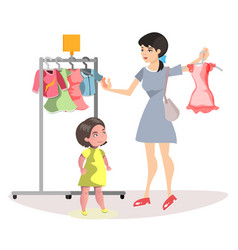 mommy and little daughter shopping together vector image