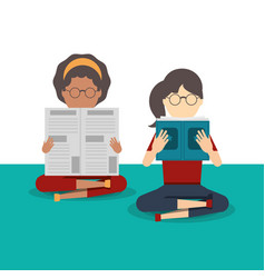 people reading book and newspaper vector image