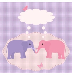 Two elephants card vector image vector image