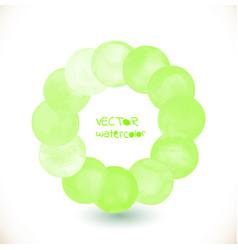 Watercolor green painted circle frame vector