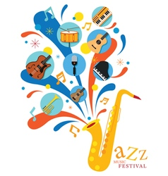 Jazz Music Instruments Saxophone with Icons vector image vector image