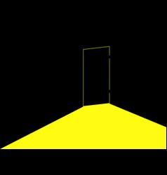 Light under the door locked door with light vector