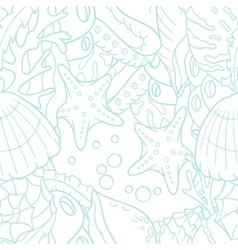 Outline doodle sea seamless pattern with starfish vector image