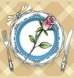 romantic table setting with rose vector image