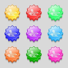 scissors icon sign symbol on nine wavy colourful vector image