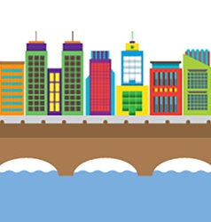 Bridge Cross River And Buildings On Land vector image