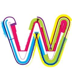Colorful Grunge font Letter w vector image vector image
