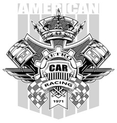 graphic american coat of arms with gear and crown vector image