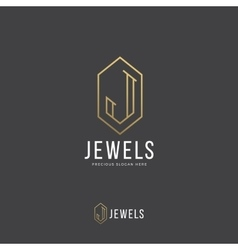 Jewels Abstract Logo Template Hand Drawn vector image