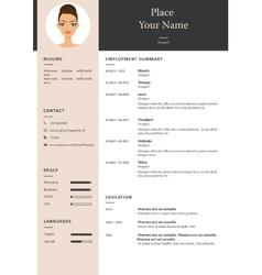 minimalist cv orresume template vector image