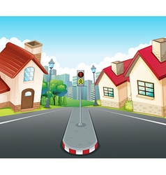 Neighborhood scene with houses and road vector image