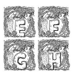 retro mermaid alphabet - e f g h vector image vector image