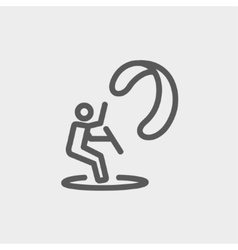 Skydiving thin line icon vector image