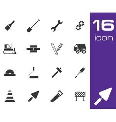black construction icons set on white background vector image