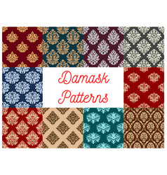 damask floral baroque samless patterns set vector image