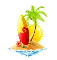 Surfboard and tropical island vector