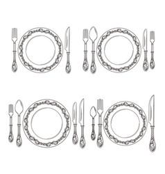variations of cutlery arrangement set vector image