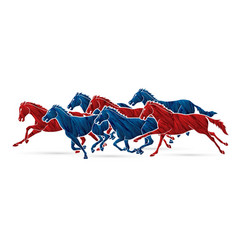 7 horses running cartoon graphic vector image