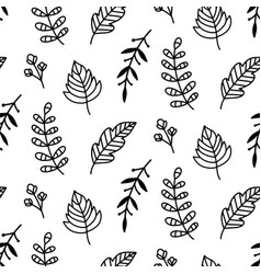 autumn leaves doodle sketch seamless pattern vector image