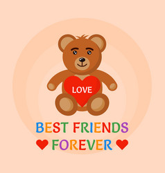 bear toy hold heart in hands vector image