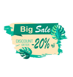 Big sale and discount offer with 20 off banner vector