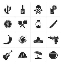 Black Mexico and Mexican culture icons vector