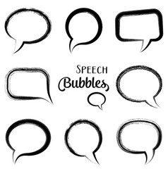 black speech bubbles vector image