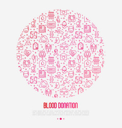 blood donation concept in circle vector image